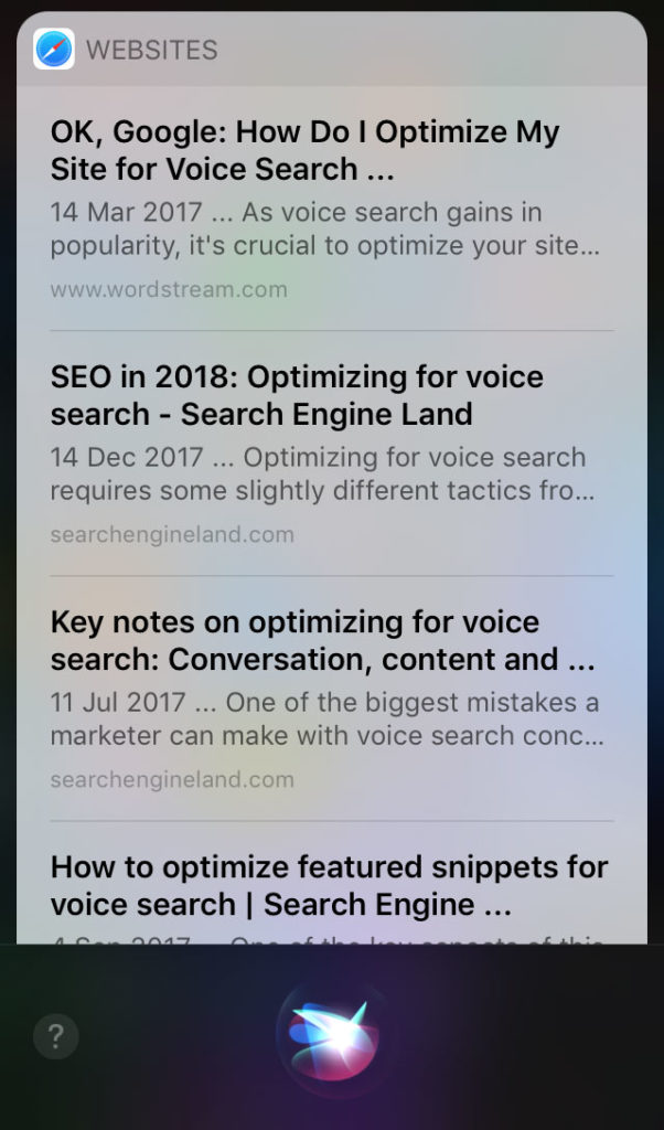 voice search query on mobile device