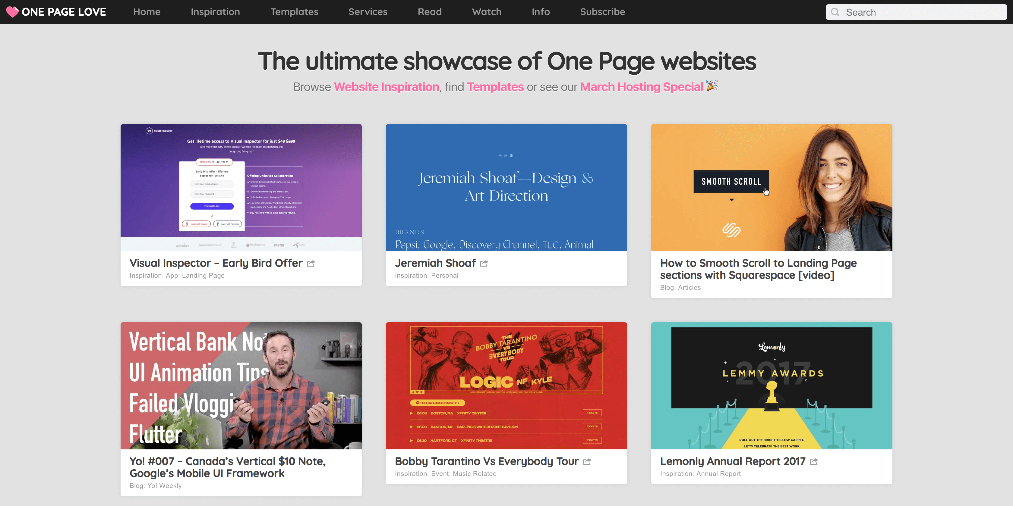 The One Page Love website.