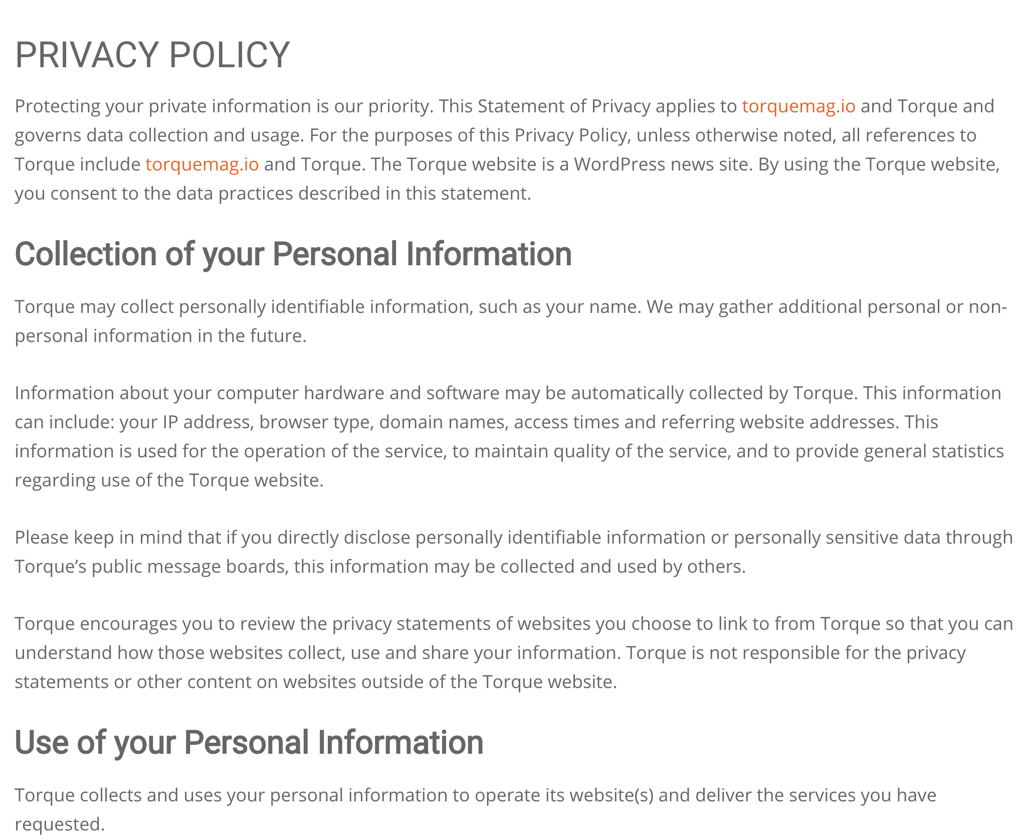 An example of Torque's privacy policy.