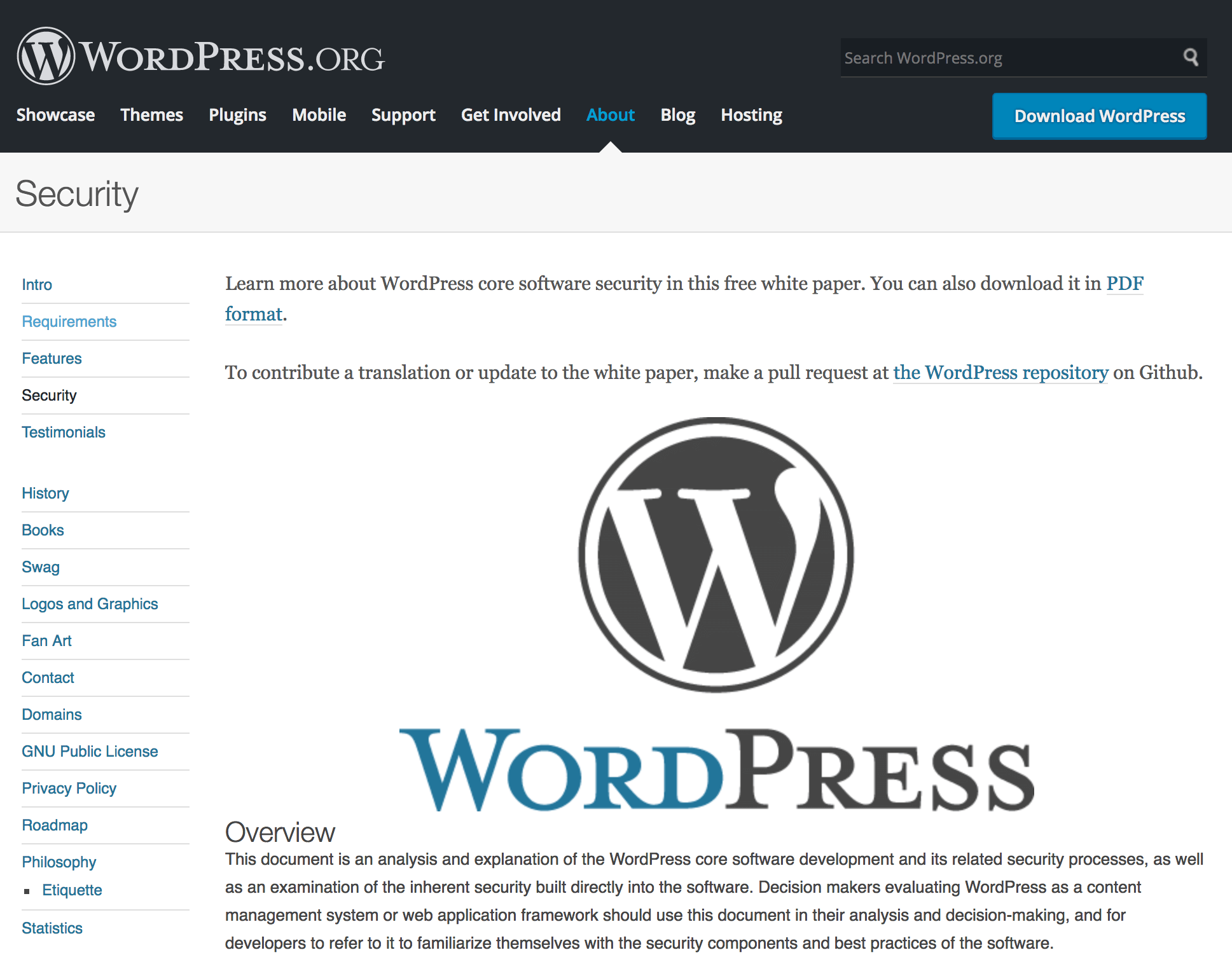 The WordPress security page.