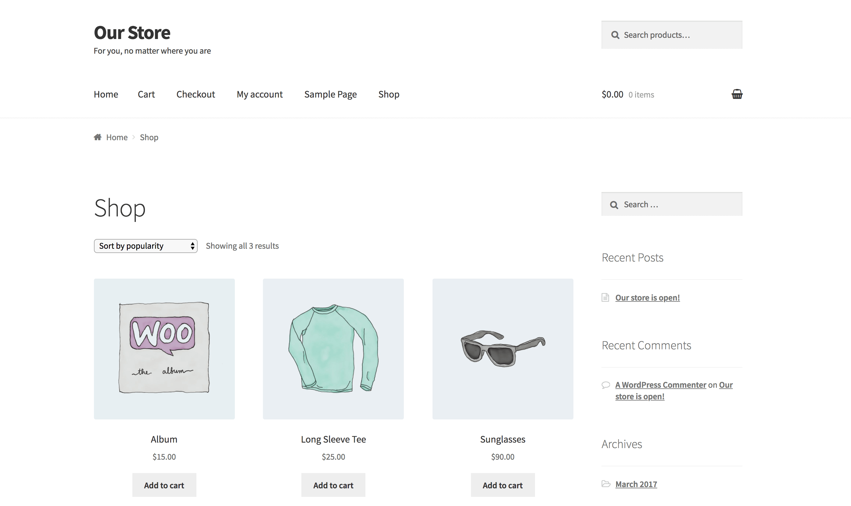 A WordPress site running WooCommerce and featuring sample products.