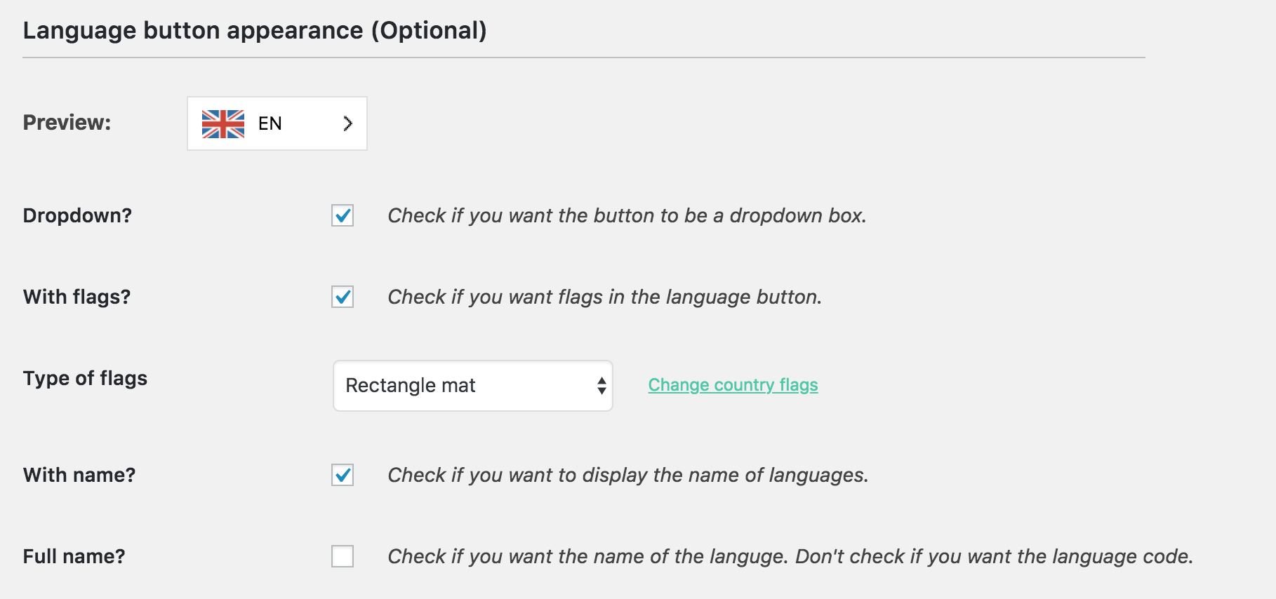 Configuring the Weglot language selector.