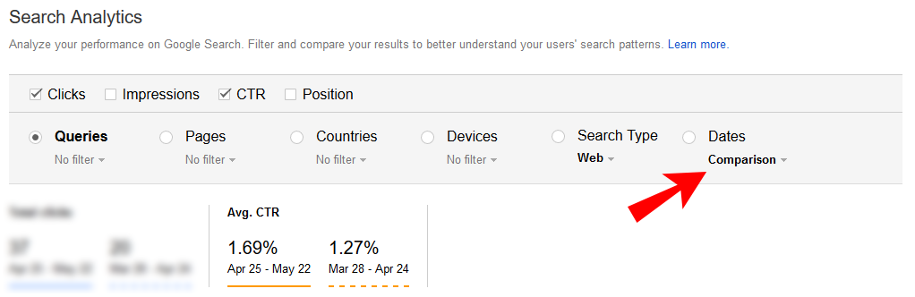 compare ctr in google search console