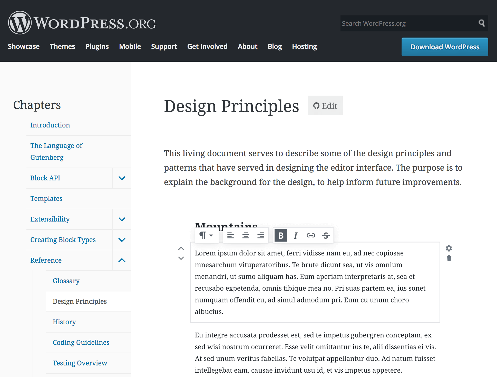 WordPress' Design Principles page.