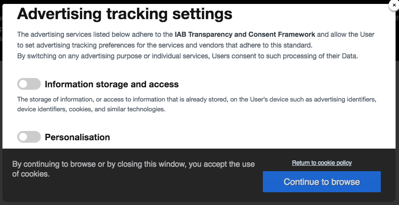 A pop-up about advertising tracking settings.