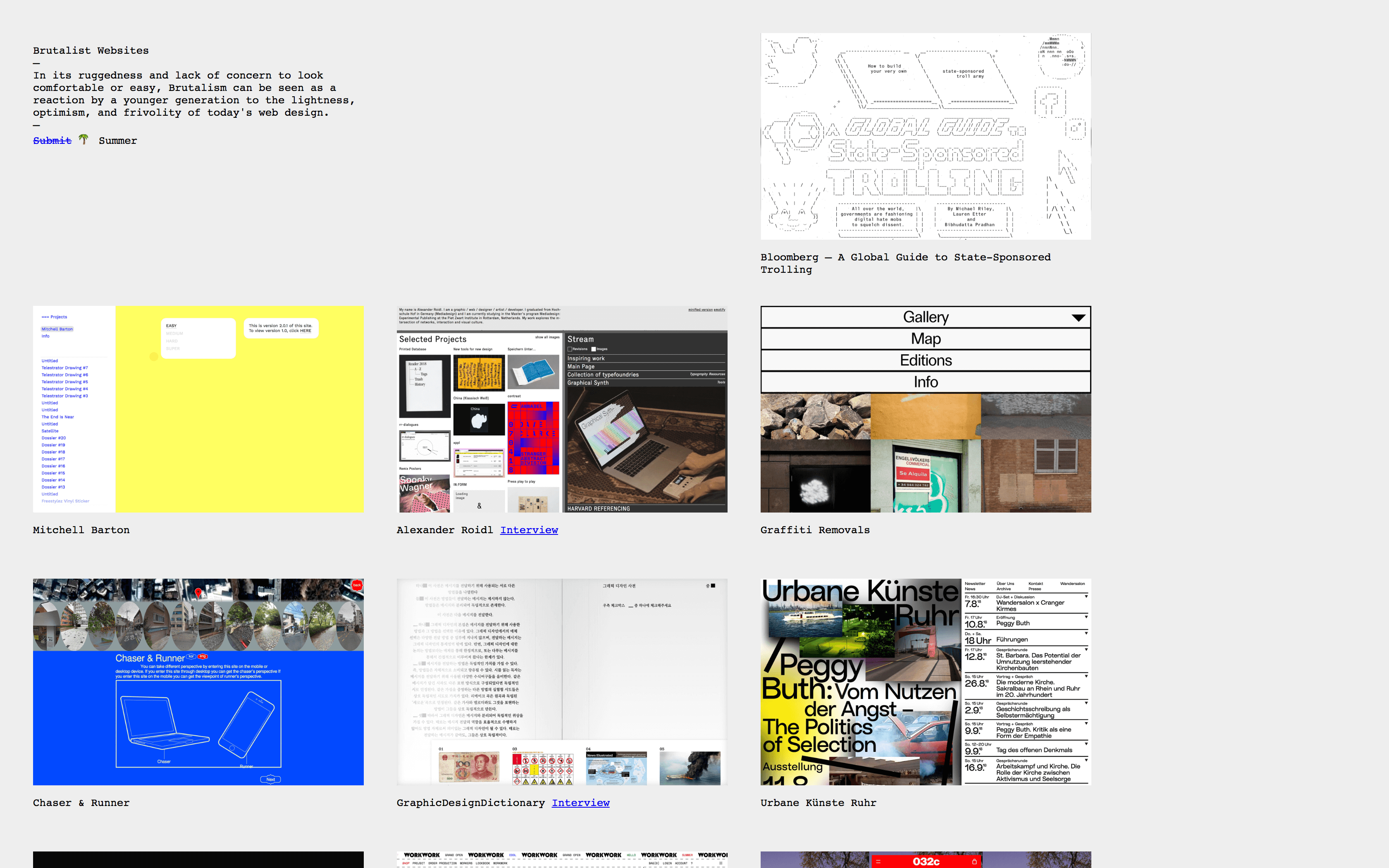 The Brutalist Websites home page.