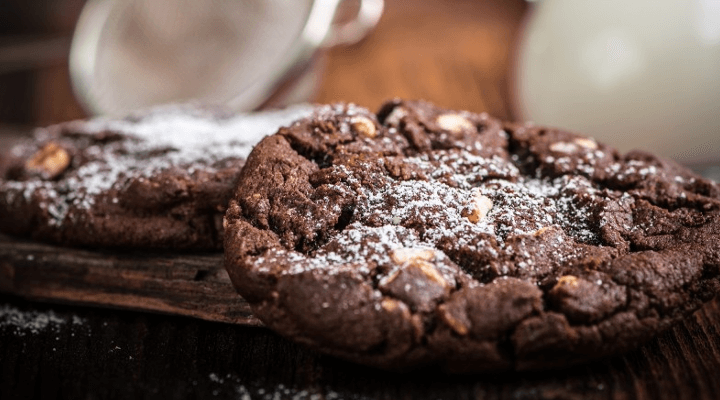 Two chocolate cookies.