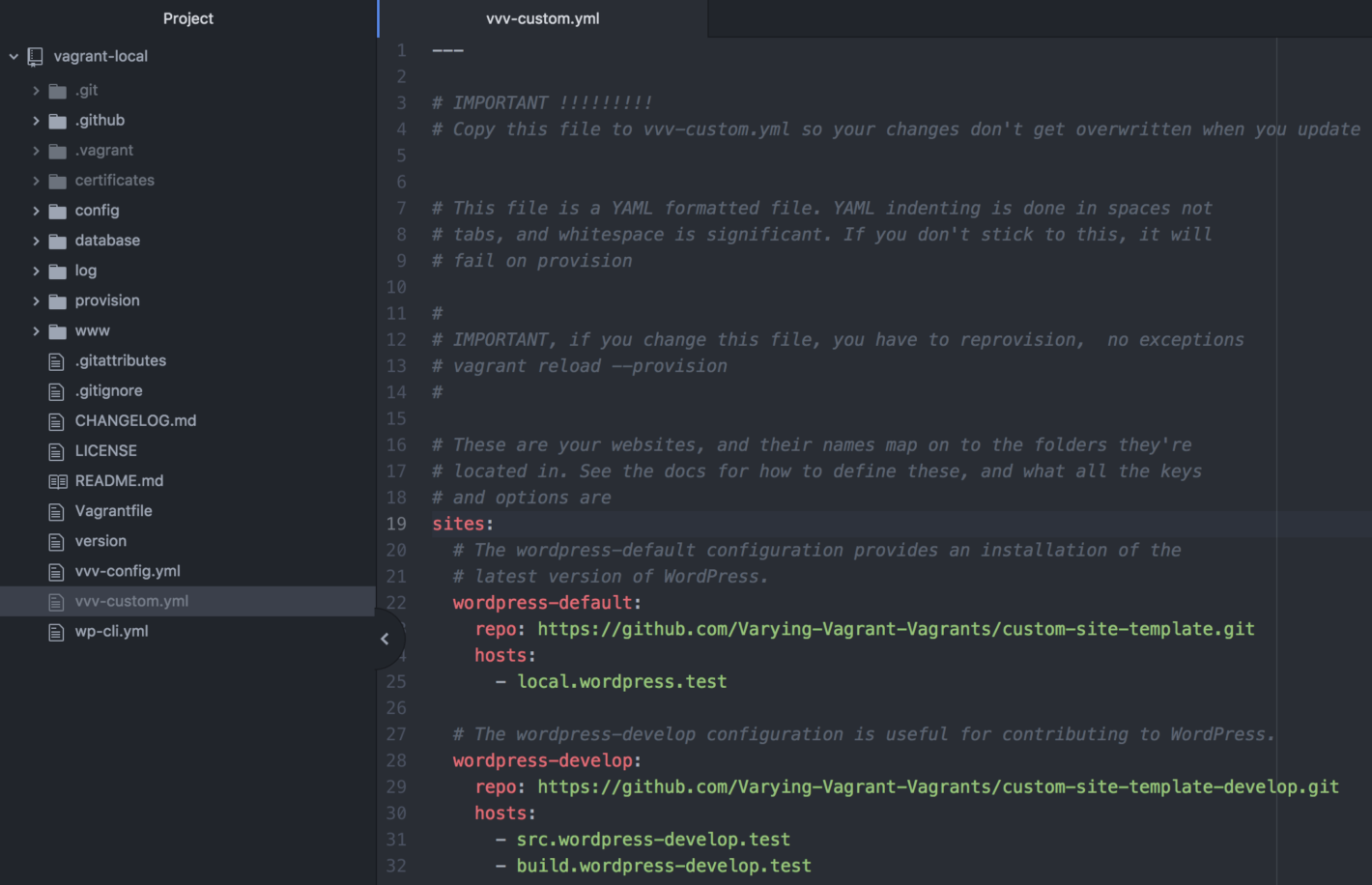 The vvv-custom.yml file within Atom.