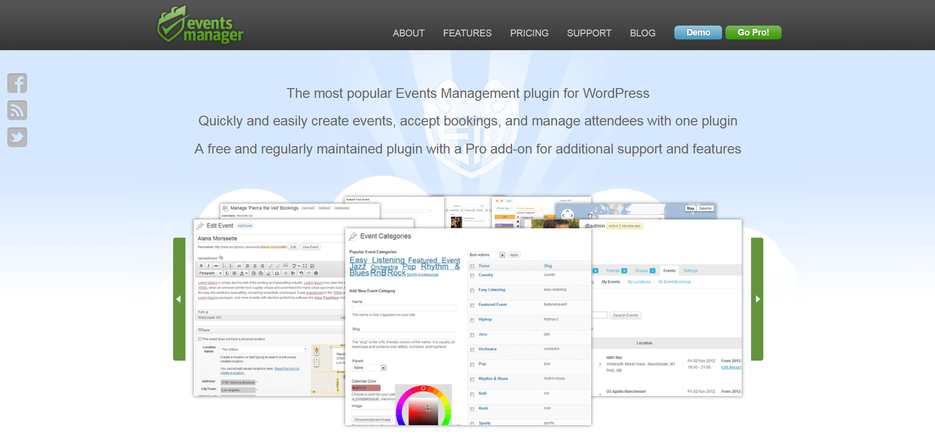 The Events Manager website.