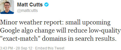 matt cutts twitter announcement exact match domains