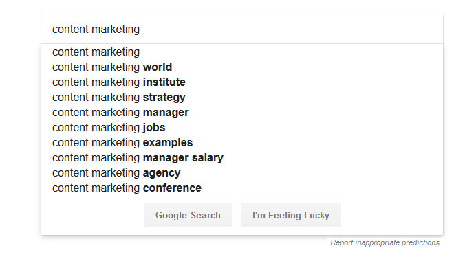 use google autosuggest to come up with blog post ideas