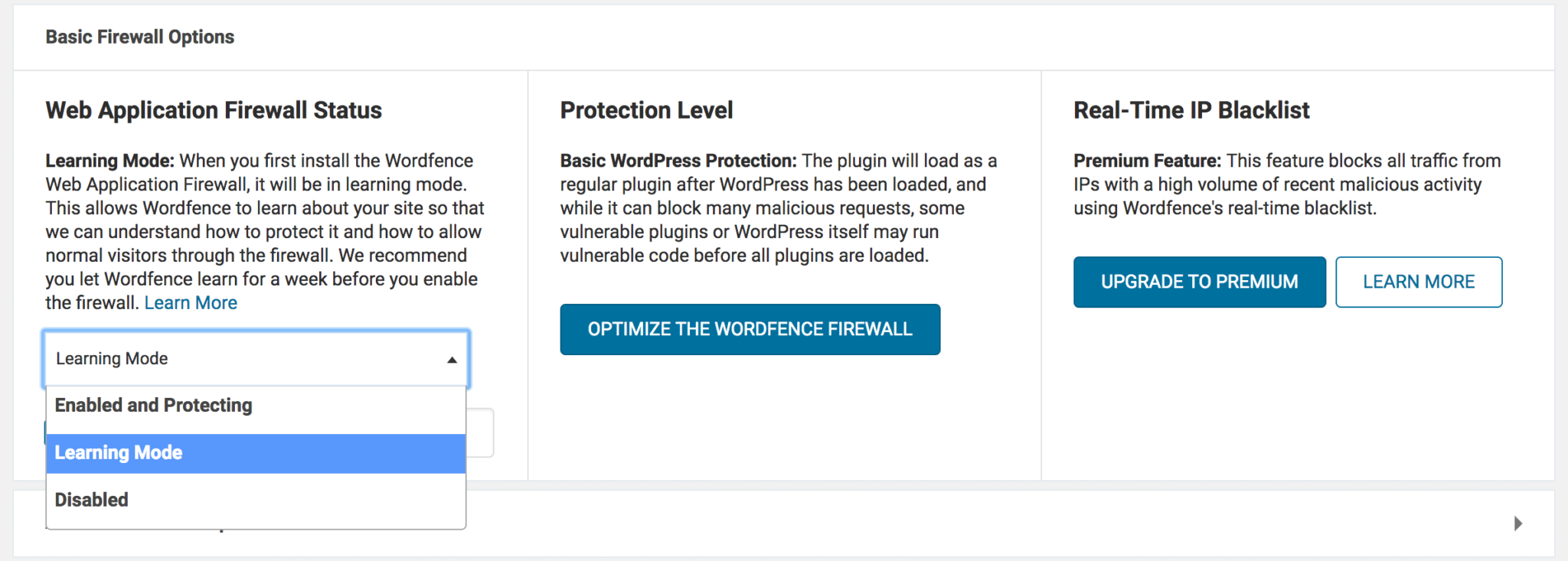 Wordfence's firewall settings.