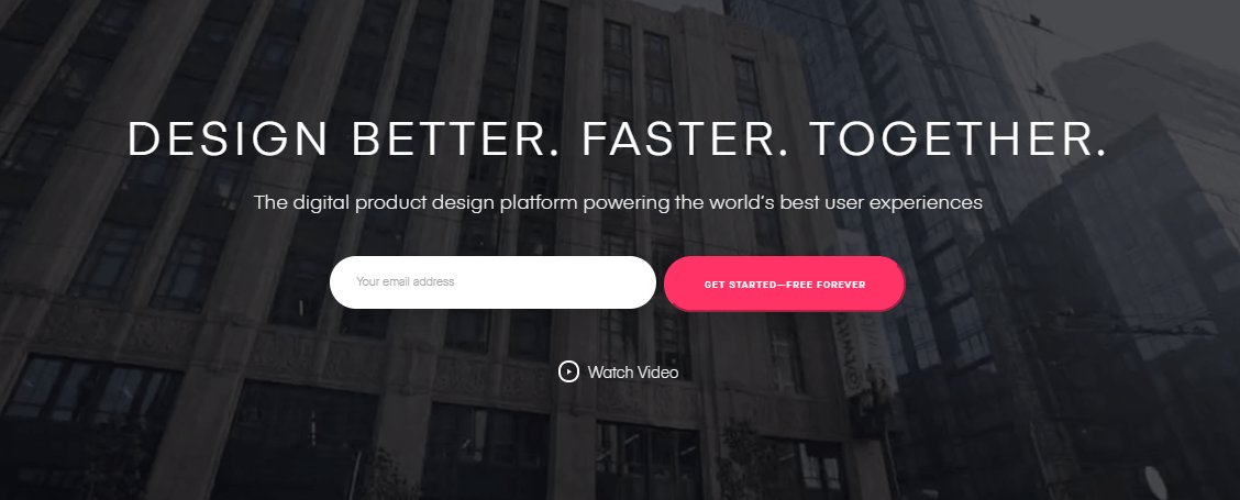 The InVision homepage.