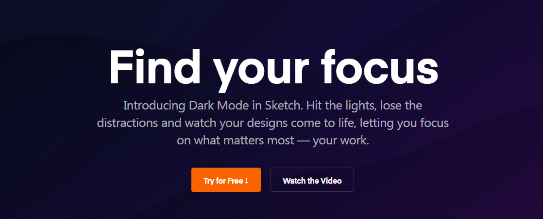 The Sketch homepage.