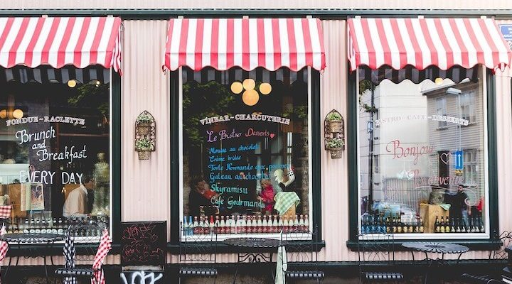 A French cafe storefront.