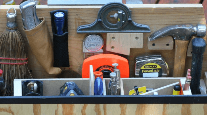 A toolbox on a deck.