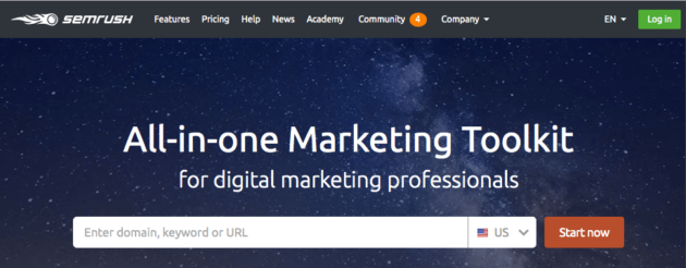 The SEMRush Homepage.