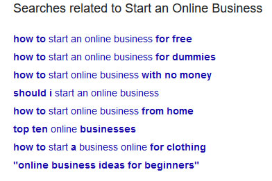 start an online business google related search results