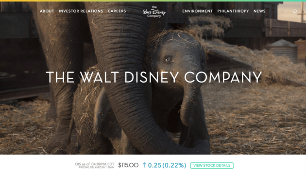 The Walt Disney Company's Homepage.
