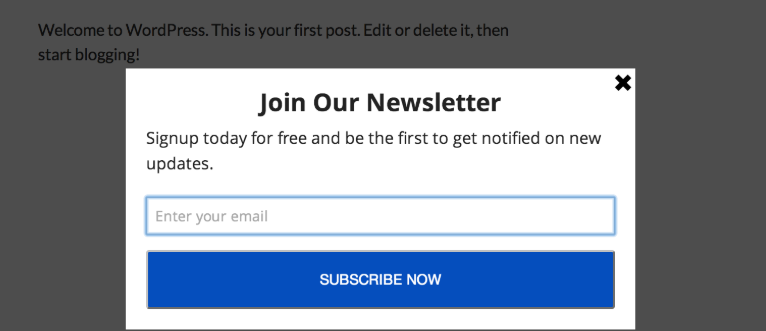 A simple email signup form.