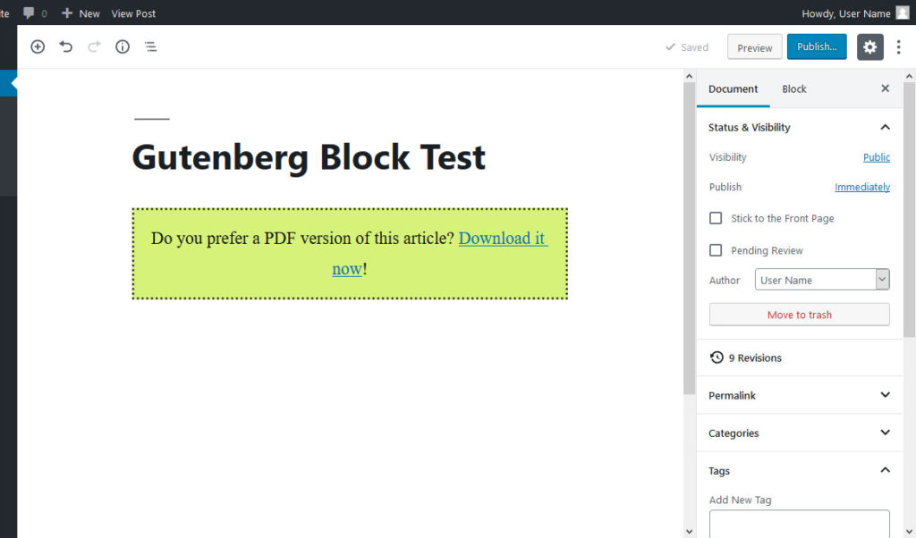 finished block in gutenberg editor