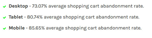 shopping cart abandonment rates desktop vs mobile