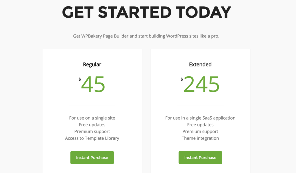 The WP Bakery Page Builder pricing table, which is based on a one-time pricing model.