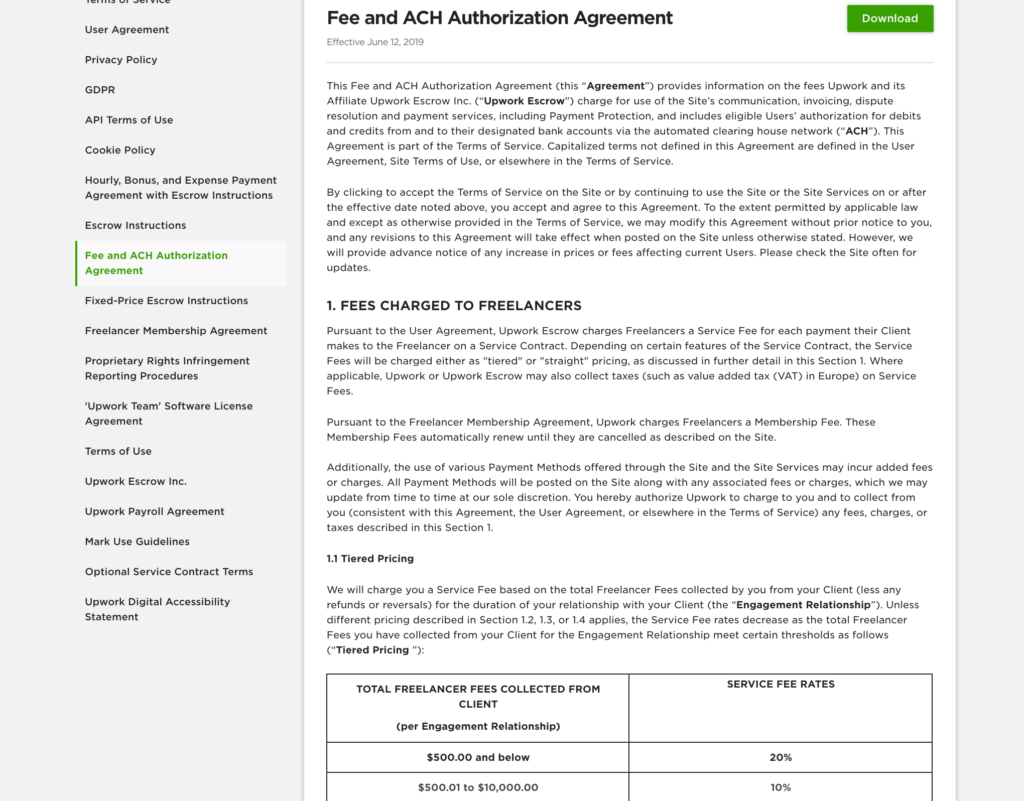 The freelancer agreement from Upwork, which states the site is entitled to up to 20 percent of a user's earnings.