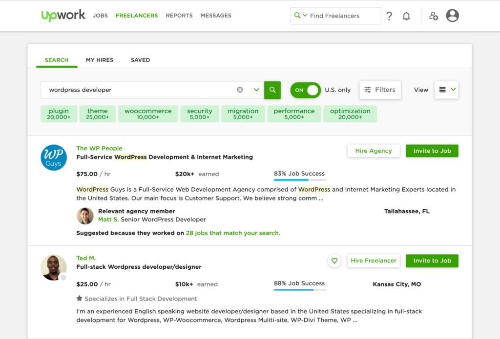 WordPress developer freelancer results from Upwork.