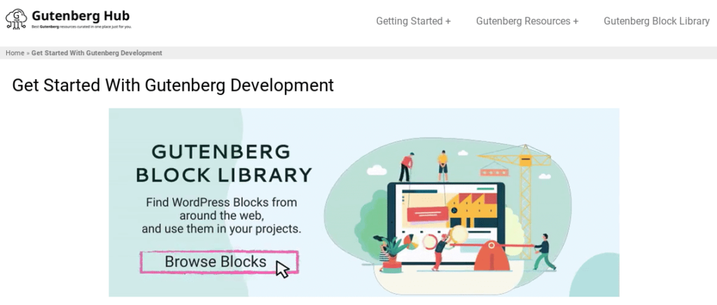 The homepage of the Gutenberg Hub website.