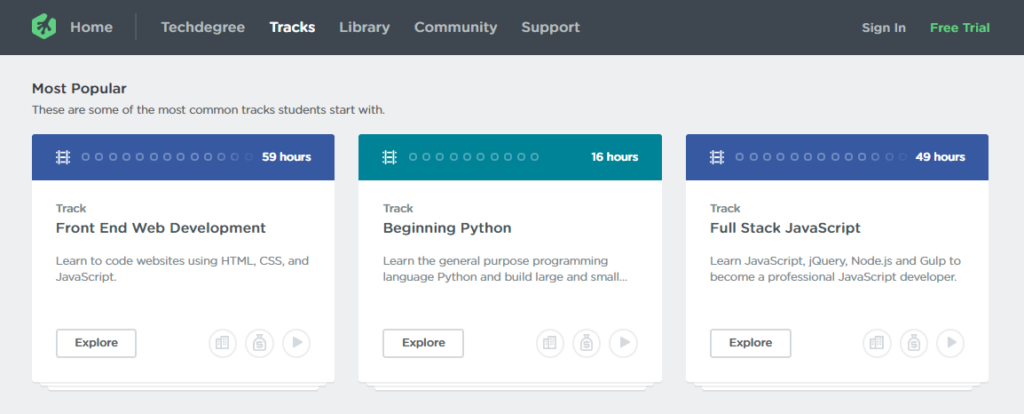 Example courses on Treehouse.