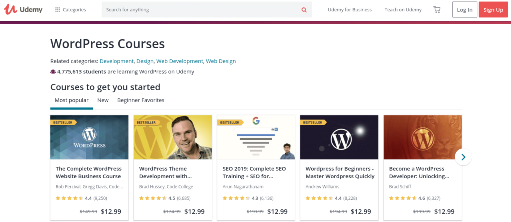 WordPress courses offered on Udemy.