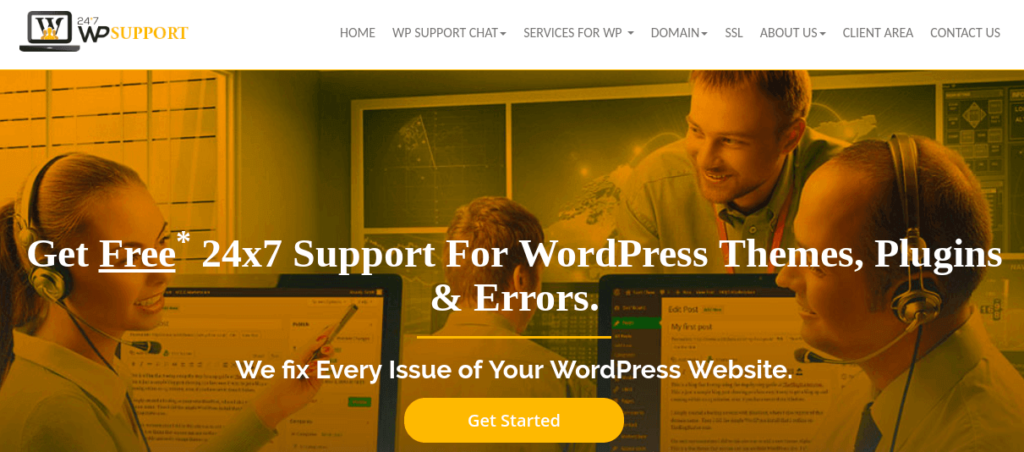 The 24x7 WP Support website.
