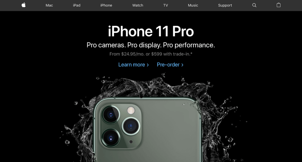The iPhone sales page.