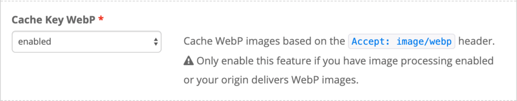 Enabling WebP caching.