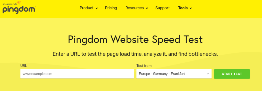 The Pingdom Tools website.