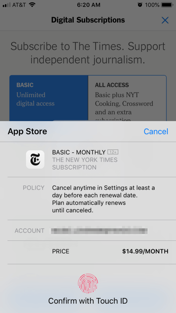 The New York Times mobile app.