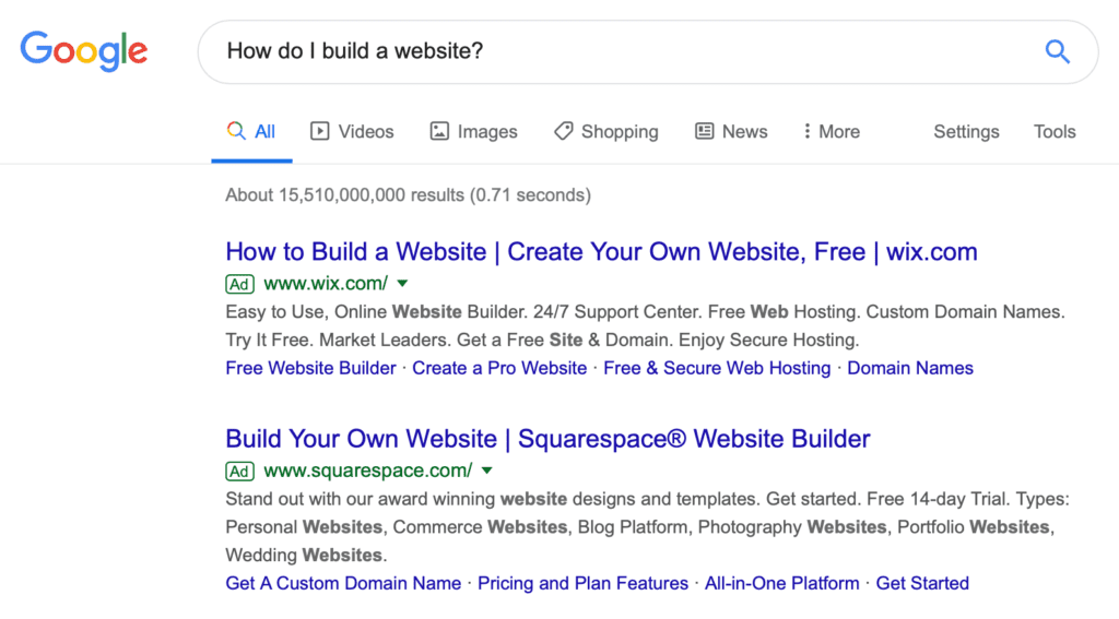 "A Google search for ""How do I build a website?"""