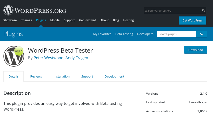 WordPress Beta Tester plugin.