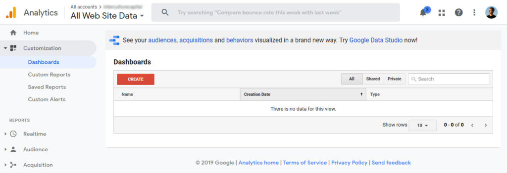 create new custom google analytics dashboard