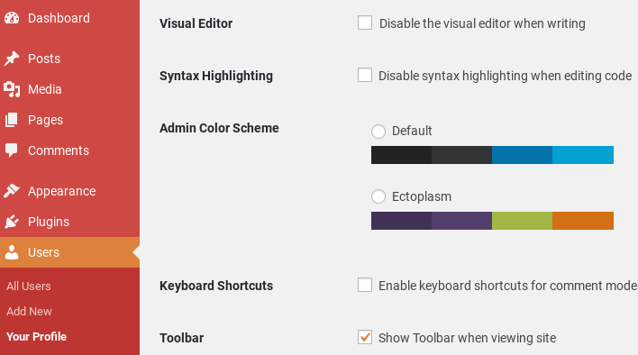 WordPress admin color scheme options.