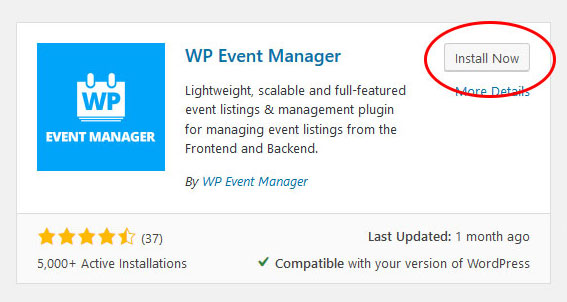 install wp event manager