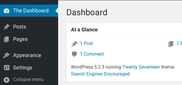 WordPress dashboard with hidden menu items.