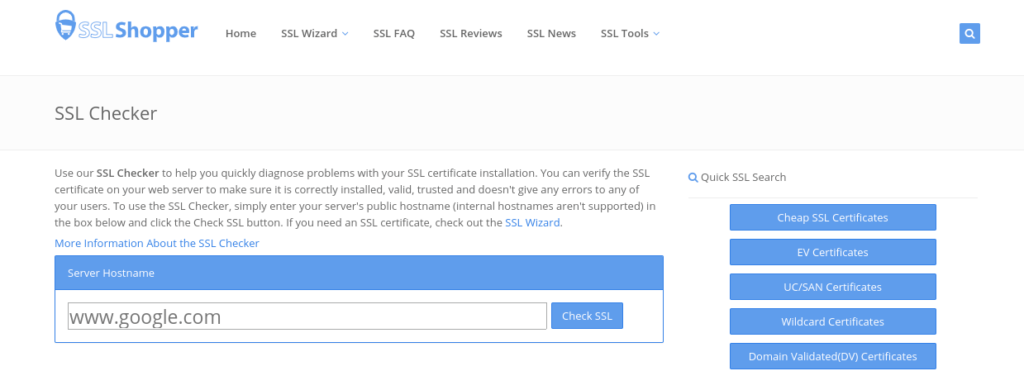 SSL checker tool on SSLShopper.com.