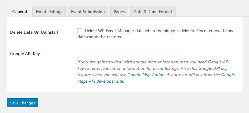 wp event manager settings