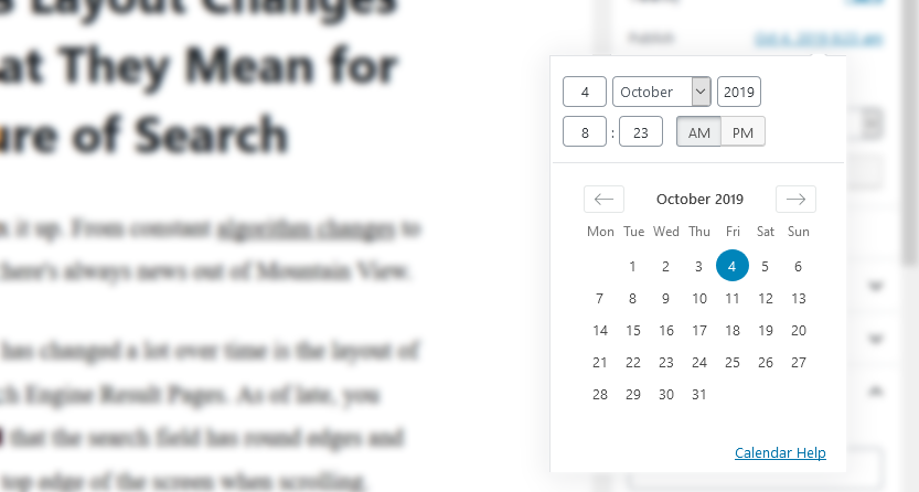 change publishing date when updating old content