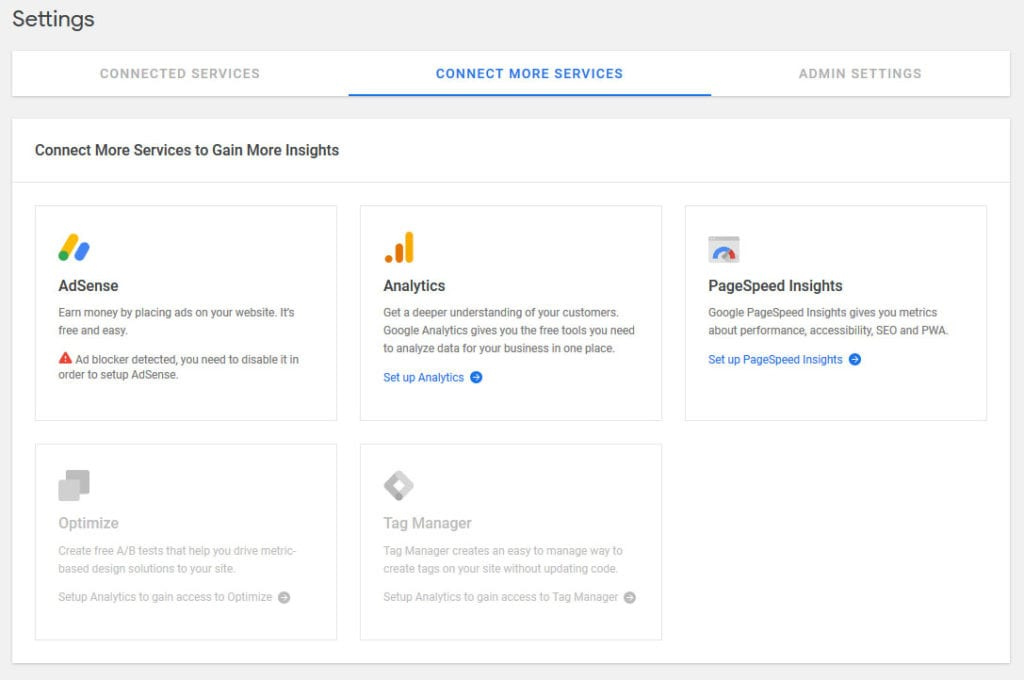 connect more services to google site kit