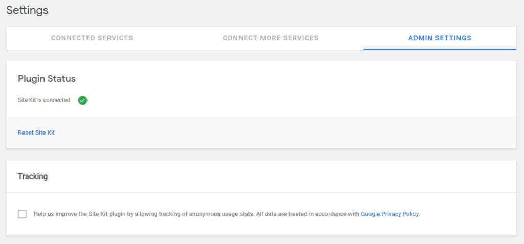 google site kit admin settings