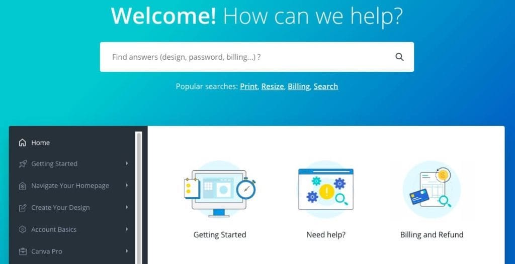 The Canva help center