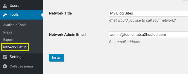 The Network Setup option in WordPress dashboard.